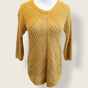 Chelsea & Theodore Mustard Loose Knit Sweater - M